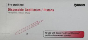 Presterilized Disposable Capillaries / Pistons Presterilized 100 - 1000 μl in Racks á 60 Tips