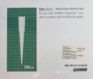bioclean Precision Pipette Tips 250 μl in Racks á 96 Tips