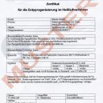 Zertifikat zur Entpyrogenisierung
