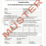 Zertifikat zur heißluftsterilisation